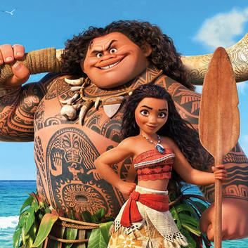 Moana and Maui, from the Disney movie Moana